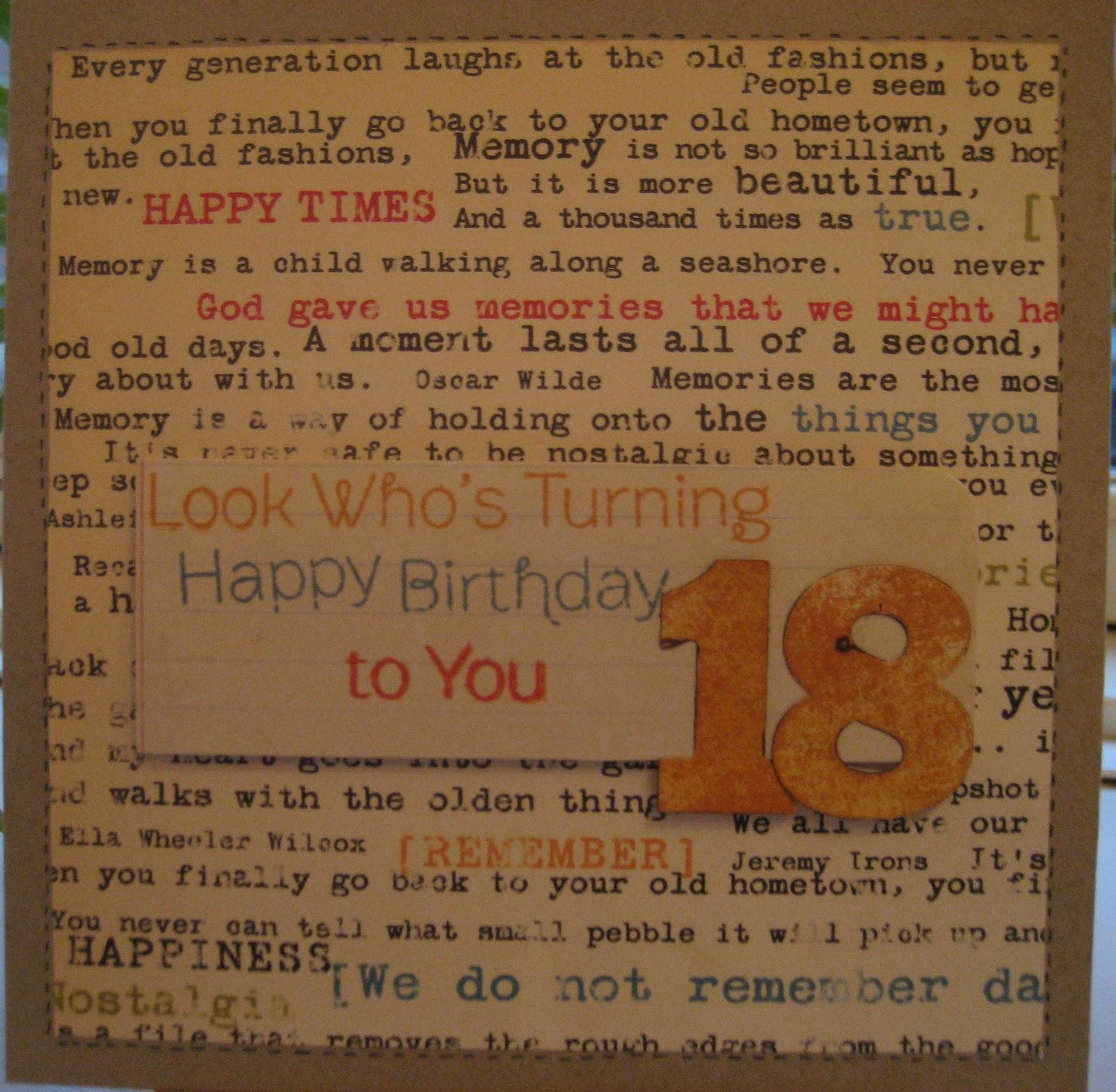 18 år kort tekst