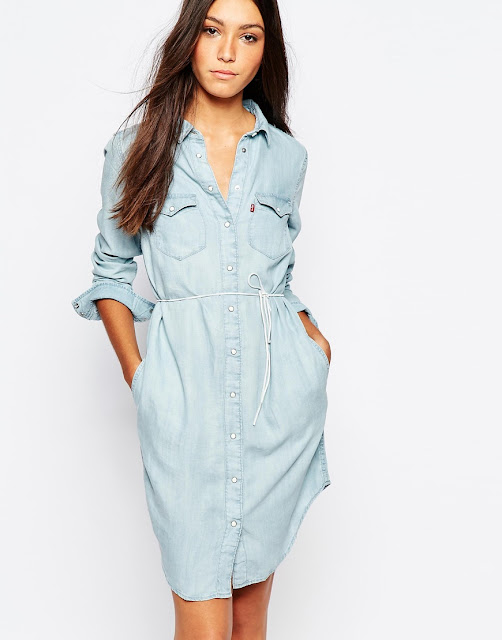 levis iconic denim dress, levis light blue denim dress,