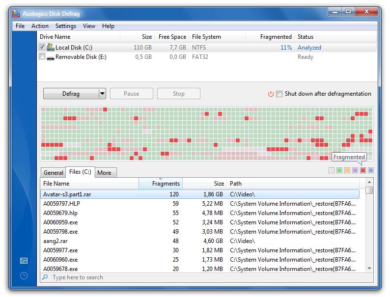 auslogics disk defrag filehippo