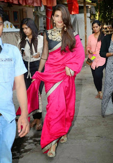 Jacqueline Fernandez Pink Saree Stills at Sahiba Ltd Ad Shoot 2
