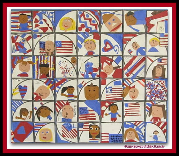 "Patriotic Quilt by 2nd Graders in Response to ""Red, White and Blue"""