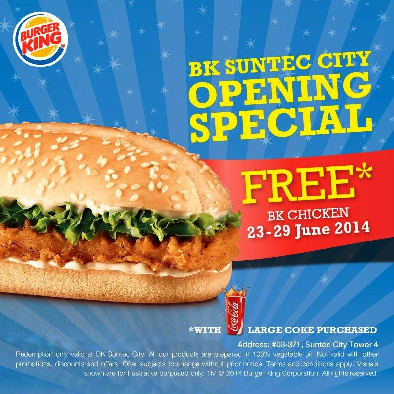 Burger King Singapore Free BK Chicken With Purchase Of A Large Coke At Suntec City Outlet Till 29 Jun 2014