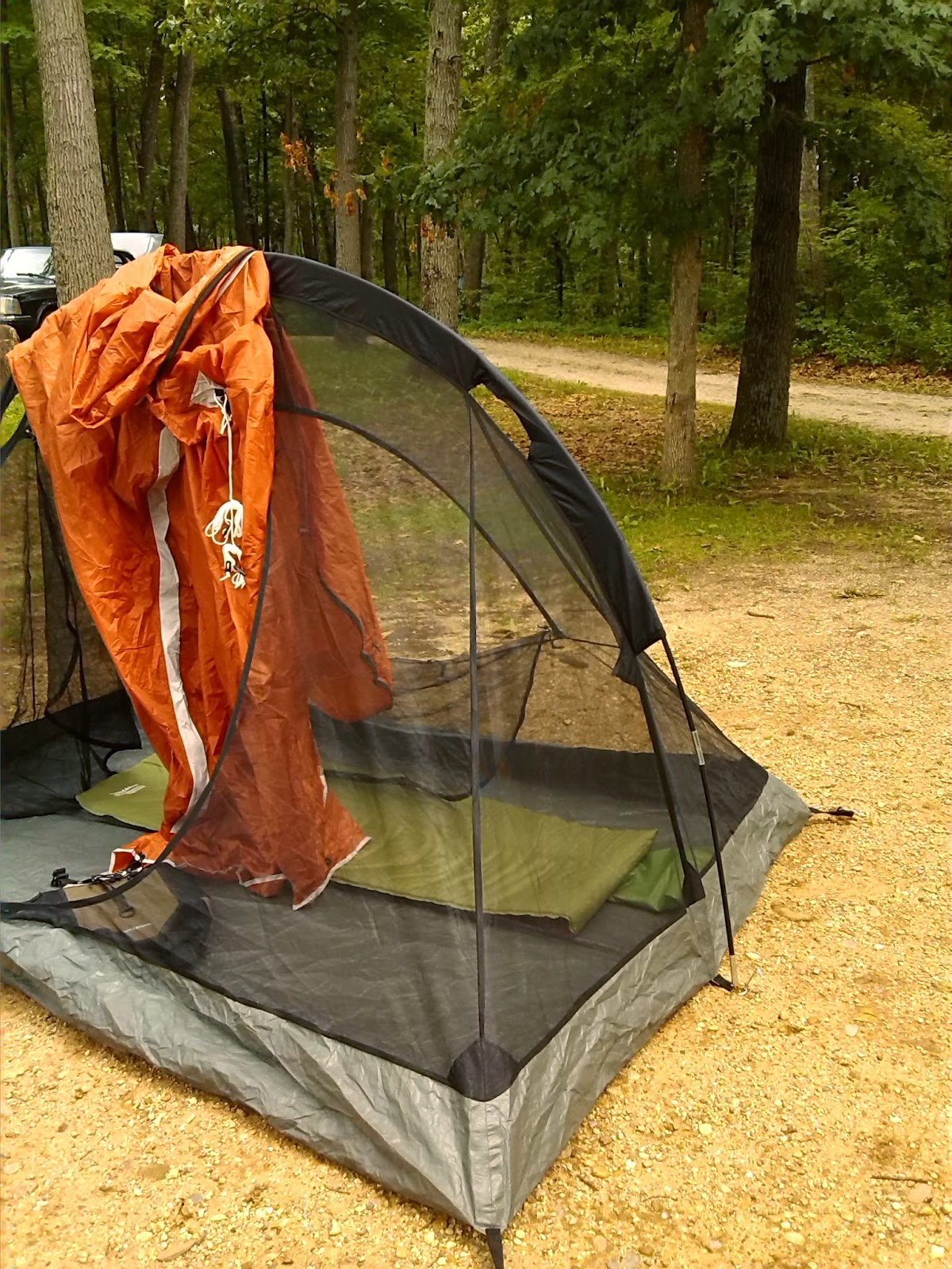 Inside You Can See The Pad And Red Fleece Sleeping Bag Liner I Think A 3 Season Tent Stays Warm Enough To Eliminate Need For Heavy