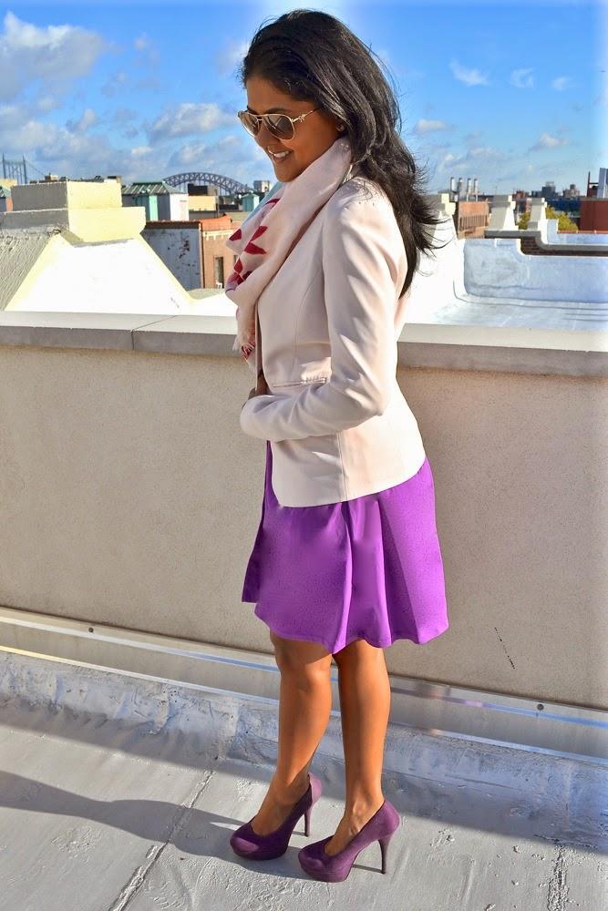 H&M Scarf blazer purple dress payless heels