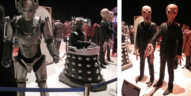 Around from the Cybermen was a cryogenic cabinet from A Christmas Carol followed by a line of companion costumes. & Making My 11th Doctor Costume: Cardiff Convention - Costume exhibition