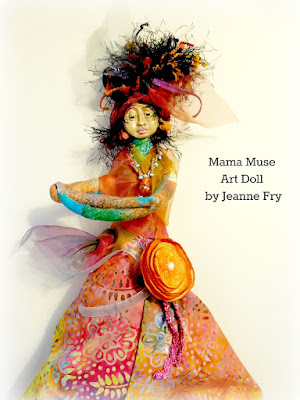 Mama Muse a Whimsical Colorful Spirit Doll Wall Hanger
