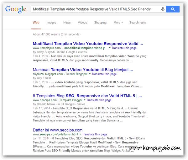 Tampilan baru halaman hasil pencarian Google