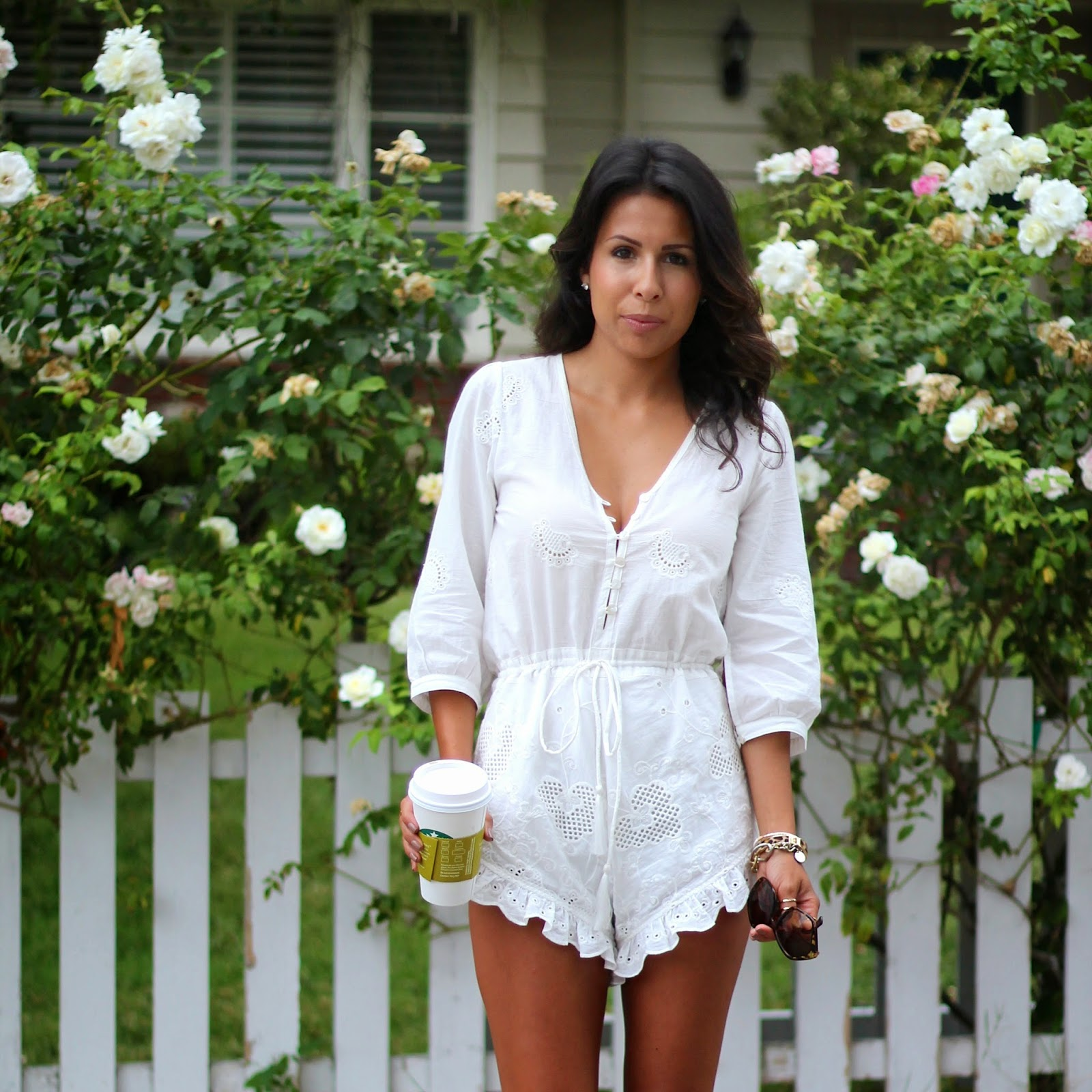 spell & the gypsy collective romper, how to wear white romper, sole society sandals