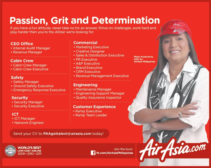 Fly gosh air asia philippines hiring cabin crew other for Cabin crew recruitment agency philippines