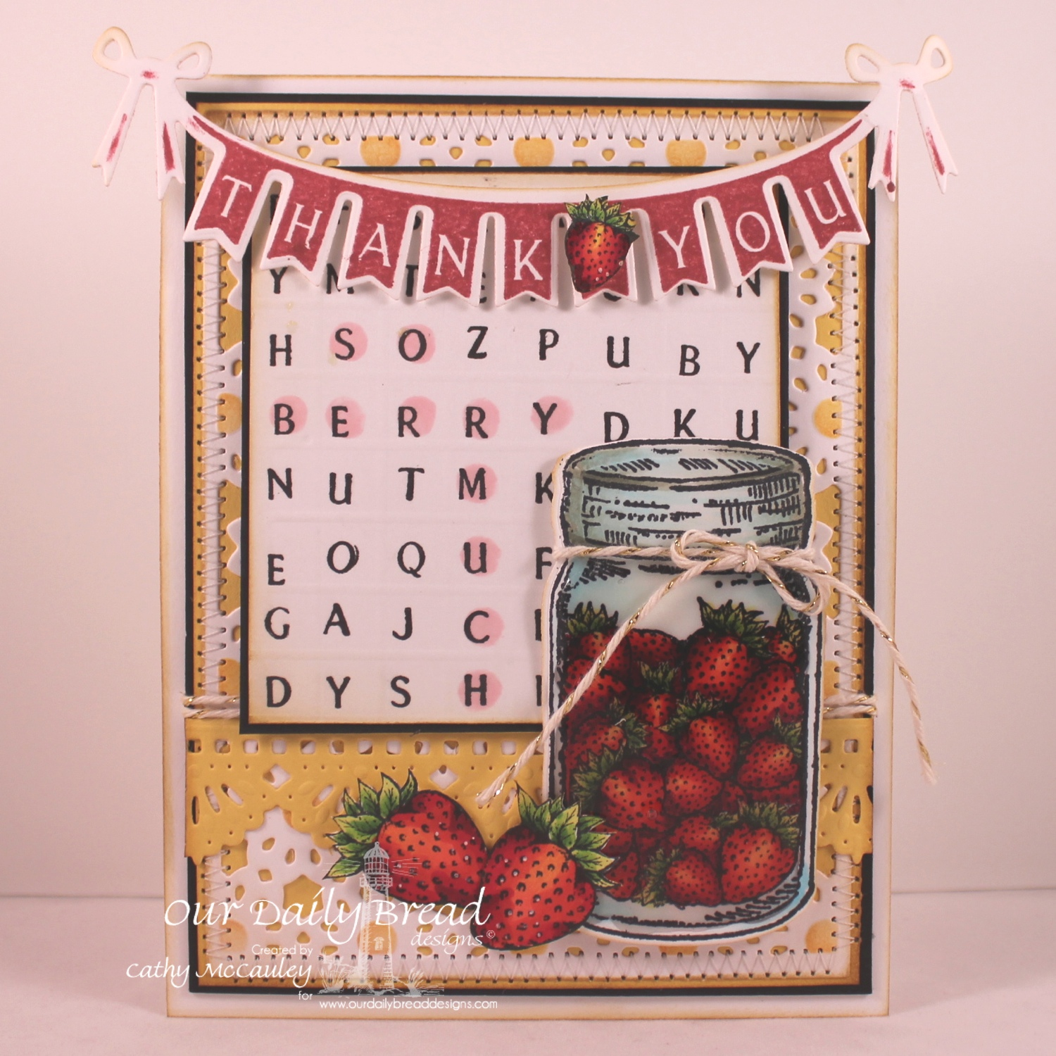 Stamps - Our Daily Bread Designs - Pennant Swag Alphabet, Blue Ribbon Winner, Canning Jar Fillers, Pennant Swag 2, Garden Mini, ODBD Custom Pennant Swag Die, ODBD Custom Canning Jars Die, ODBD Custom Beautiful Borders Die, ODBD Custom Daisy Chain Background Die