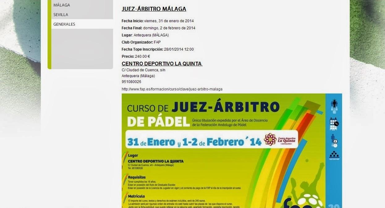 Anuncio publicado en la web de la FAP donde se convoca curso de Juez Árbitro de pádel en Antequera (Málaga)