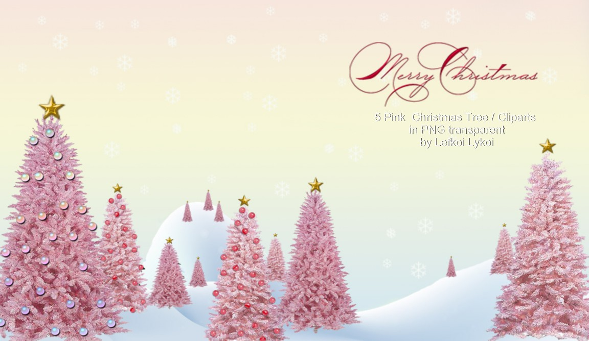 Pink christmas tree cliparts png in transparent background