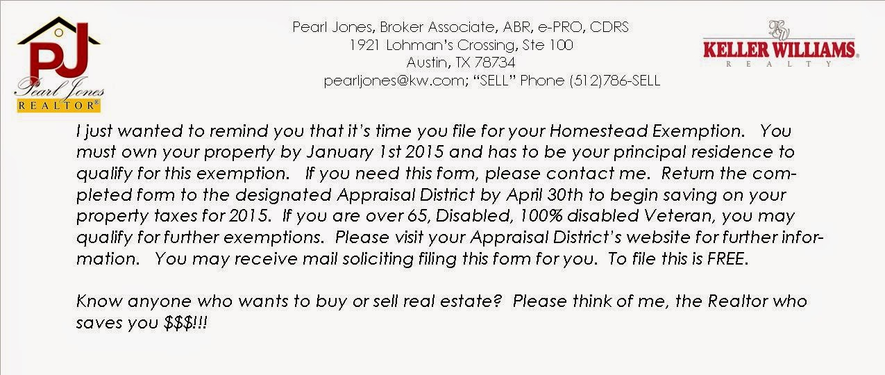Austin Real Estate Blogs by Pearl Jones: File your Homestead ...