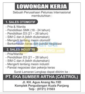 Lowongan Kerja Lampung, Selasa 18 November 2014 di PT. Eka Sumber Artha (Castrol)