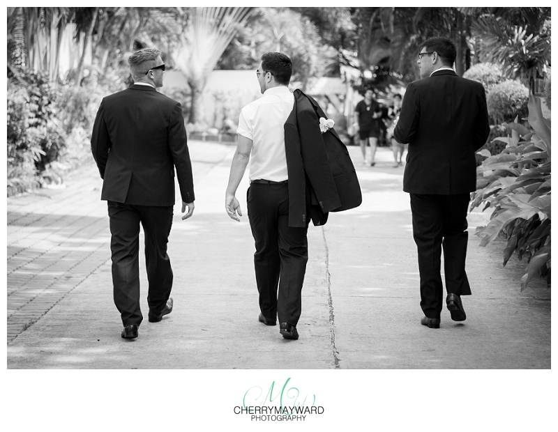 groom and groomsmen walking, black and white, Koh Samui, Thailand wedding