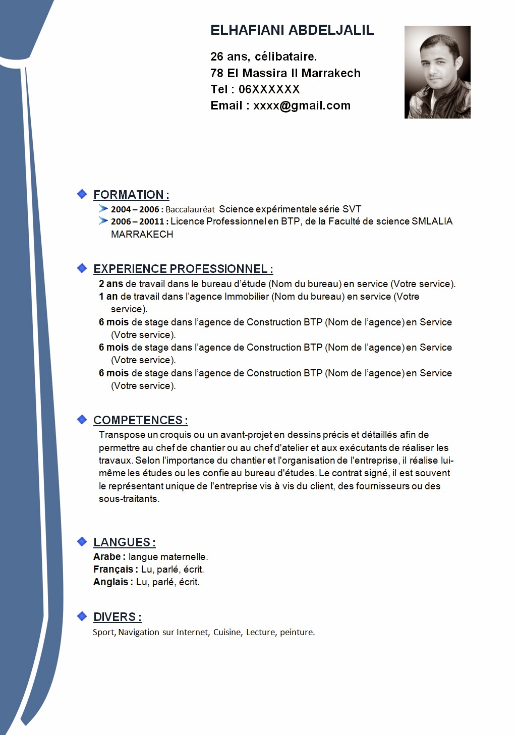 comment faire un cv  cv exemple word