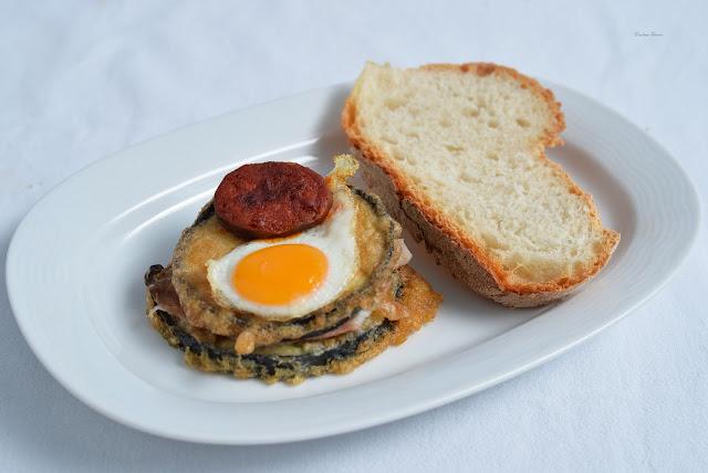 tapa chorizo ham eggplant quail egg