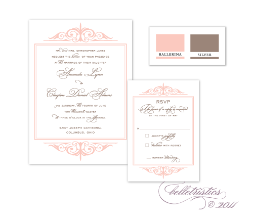 sweet feminine pink silver flourish printable diy wedding invitation