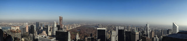 Panaroma view with The Central Park in the downtown of Manhattan, New York, USA