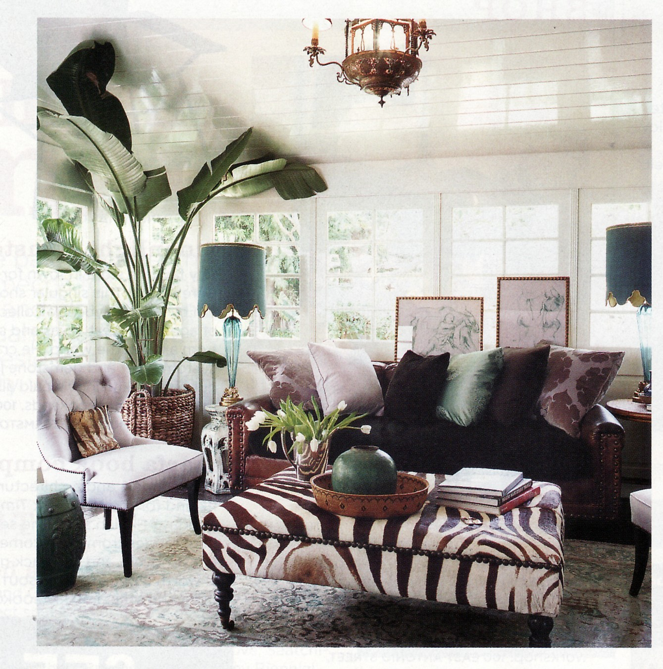 Rachel hazelton interior design style file boho chic for Animal print living room decorating ideas