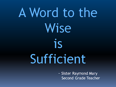A Word to the Wise is Sufficeint | Alzheimer's Reading Room