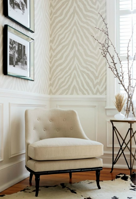 beige cream zebra stripe wallpaper subtle elegance