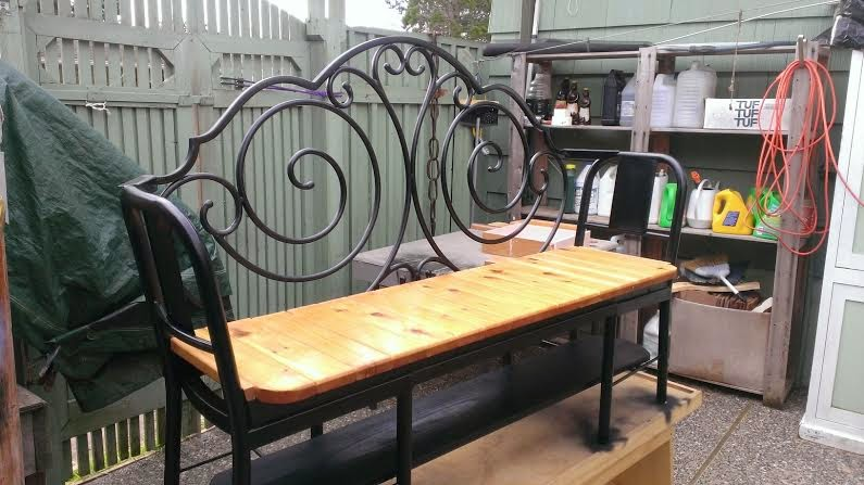 Gregs Repurpose u0026 Upcycle & Gregs Repurpose u0026 Upcycle : Garden Bench made form 2 Metal Chairs ...