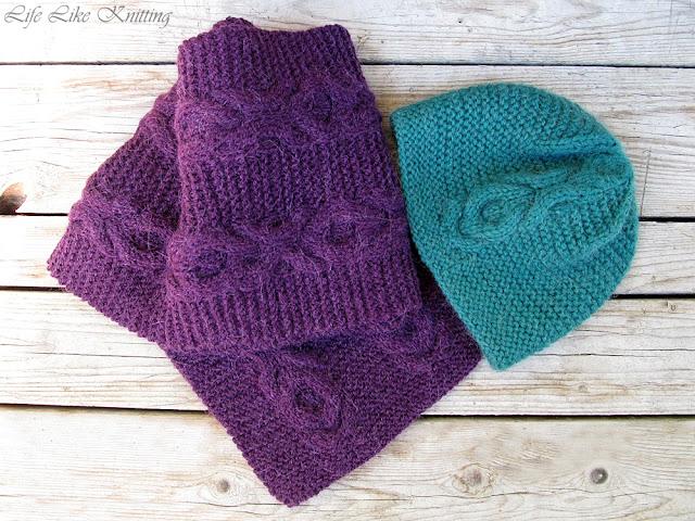 шарф шапка спицями коси scarf hat knited