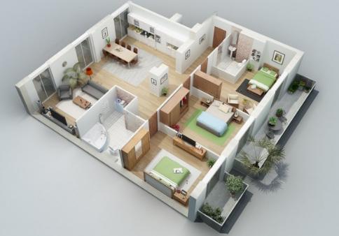 Denah Rumah Minimalis dengan 3 Kamar Tidur