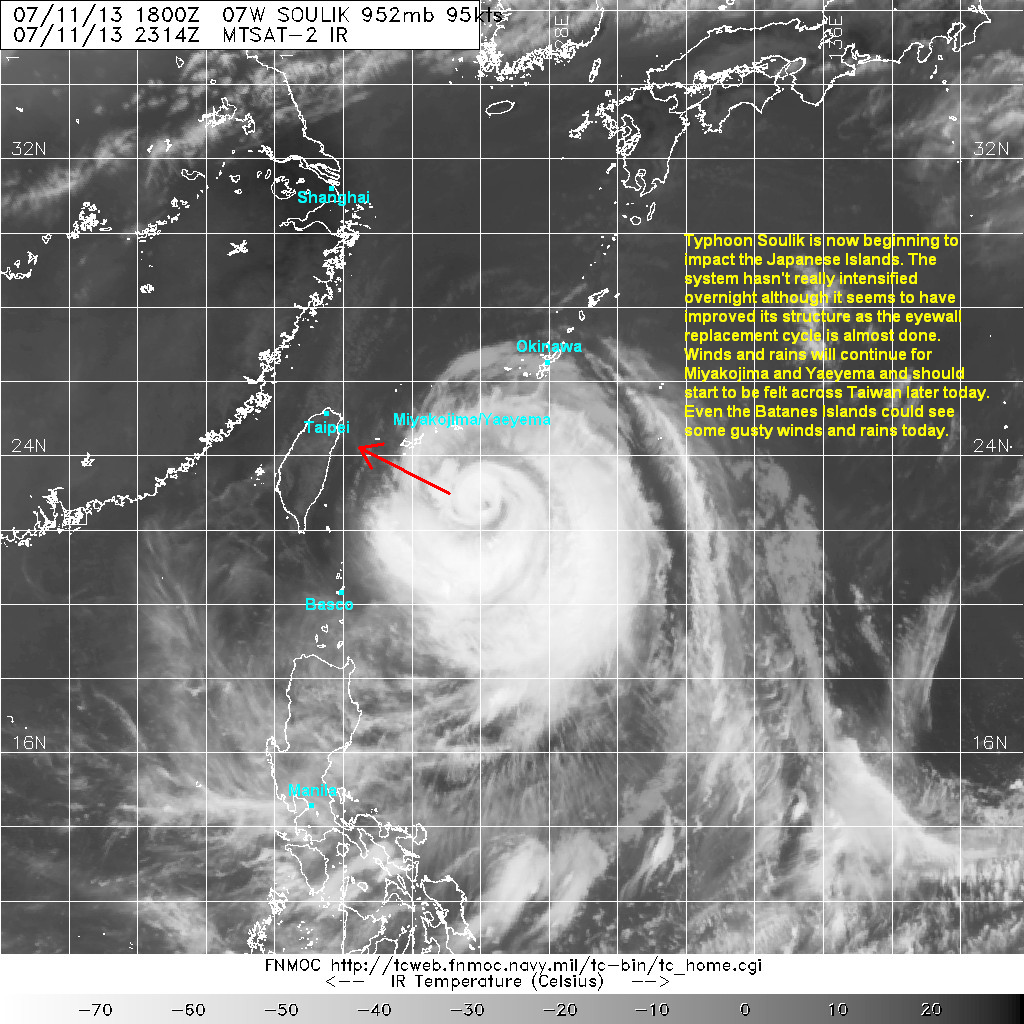 latest satellite image shows the core of soulik becoming somewhat better this morning the core has tightened again and convective activity near the center