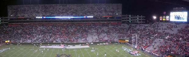 Auburn fans abandon Jordan-Hare Stadium at halftime of Tigers' loss to Texas A M.