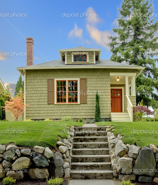 Craftsman green cute house exterior front