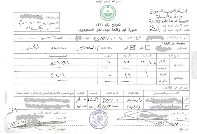 sample Birth Certificate (provisional) issued by Civil Affairs