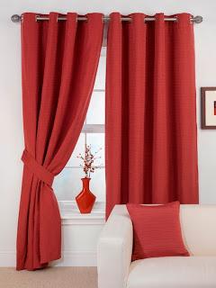 Cortinas para sala na cor vermelha