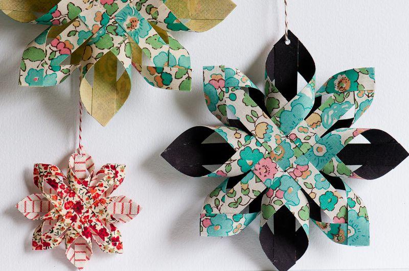 Artesanato com amor estrela de papel ou tecido for Adornos navidenos de papel