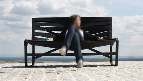 Original y flexible banco de goma para exteriores