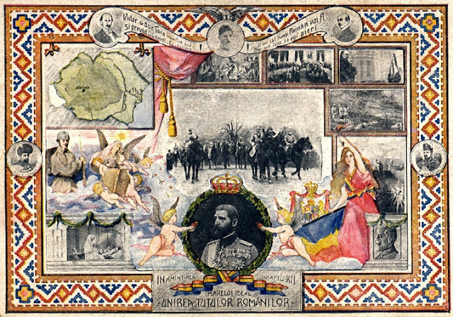 Sursa/source: Romanian postcard issued cca. 1918-1919. https://commons.wikimedia.org/wiki/File:RomaniaGreatUnion.jpg