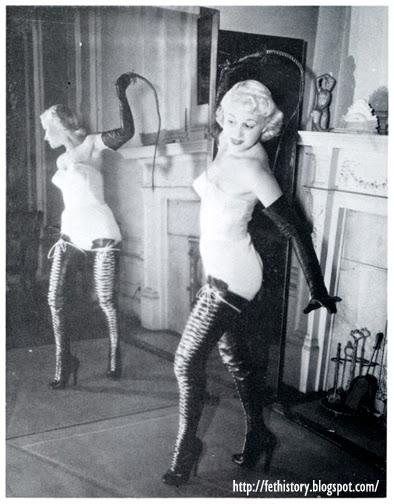 Irving Klaw model Vicki Hayes vintage boots