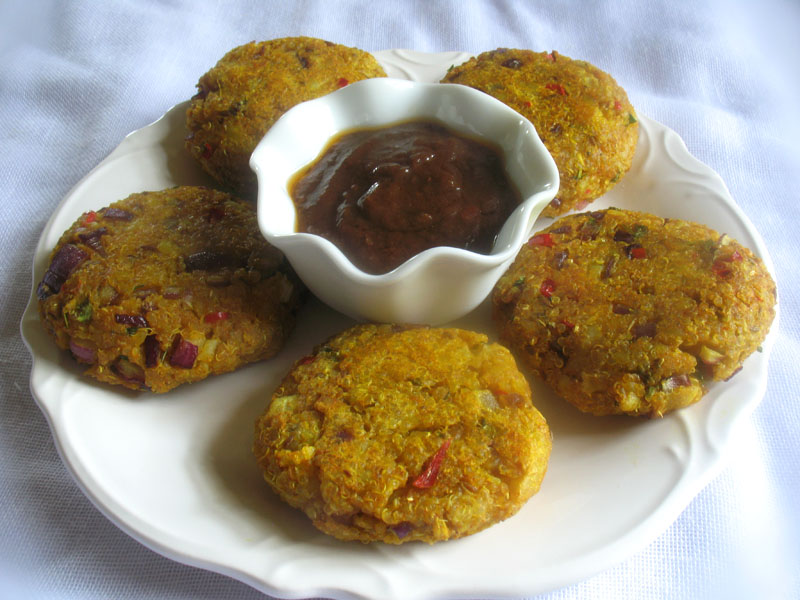 Quinoa potato patties lisa 39 s kitchen vegetarian for Quinoa recipes indian