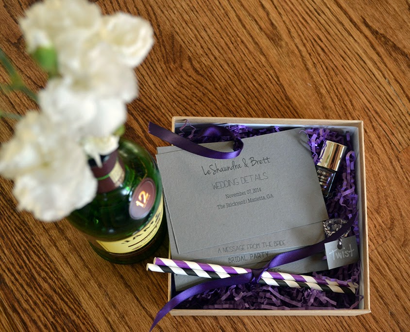 wedding information in a stationery box