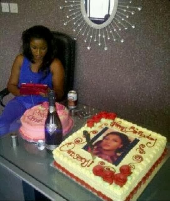 omotola jalade birthday cake