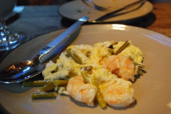Egg, shrimp, and scapes at La Oliva