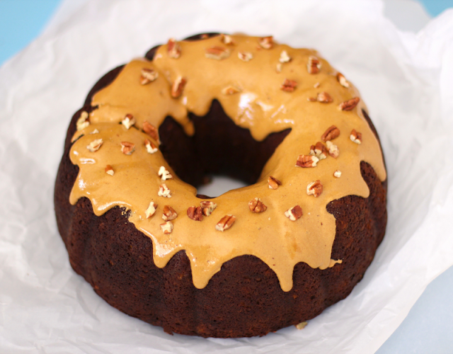 Healthy Butterscotch Pumpkin Gingerbread Bundt Cake with Cinnamon-Spiced Icing and Pecans