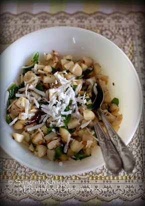 101 gluten free breakfasts : stir fried fresh water chestnuts (water caltrops) with coconut and curry leaves