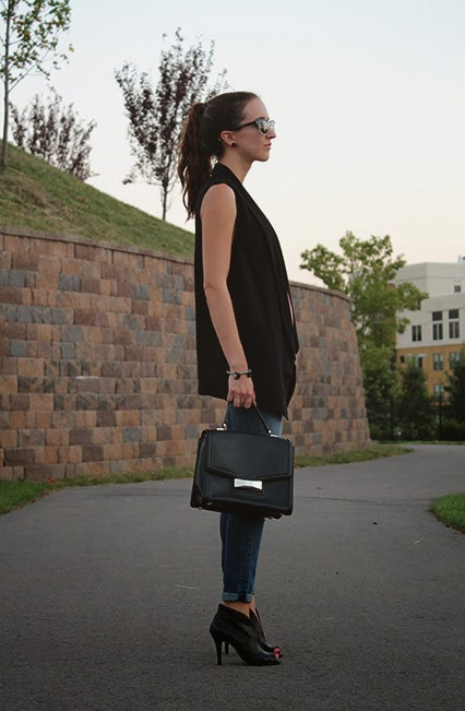 long black vest, black tuxedo vest, womens vest, fall fashion, peep toed booties, black kate spade bag, top handle kate spade purse, distressed denim, dkny sunglasses, kendra scott, loft girl, nashville blogger, style blogger
