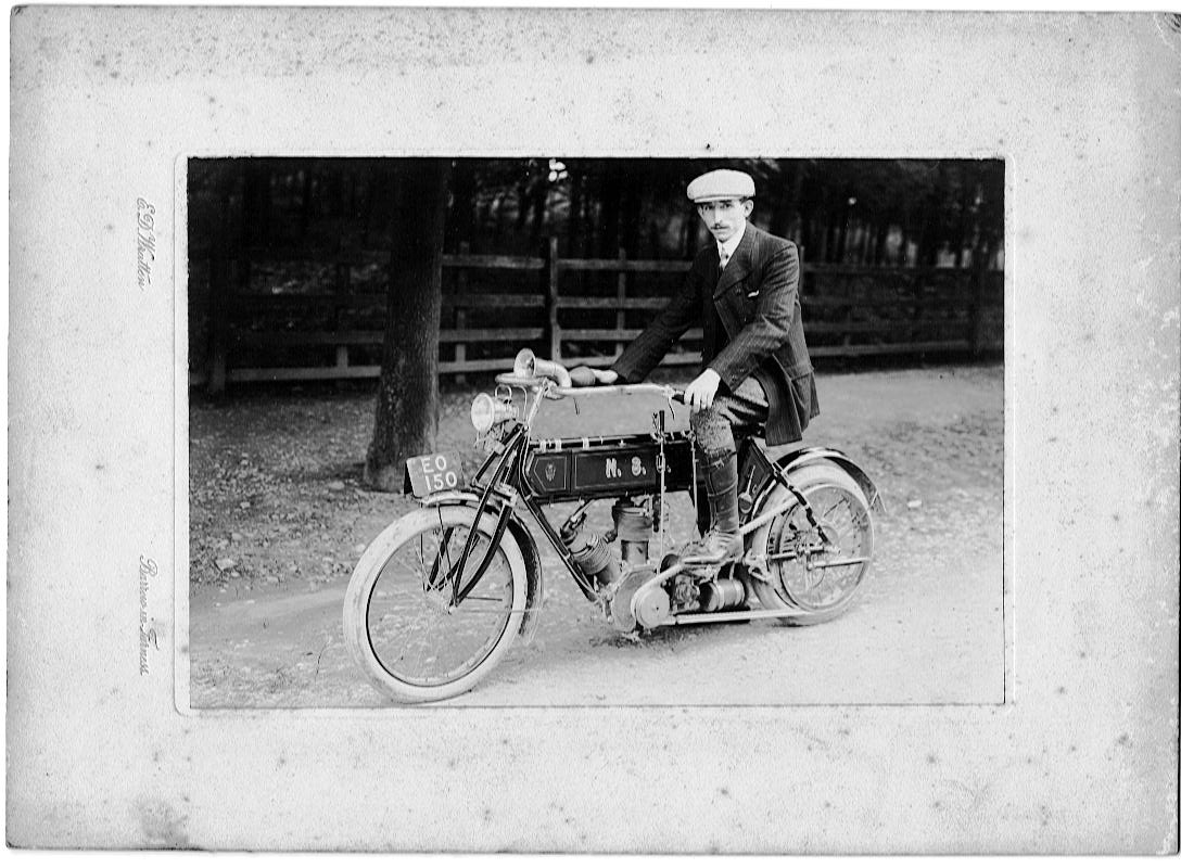 My Grandfather on his first motorbike