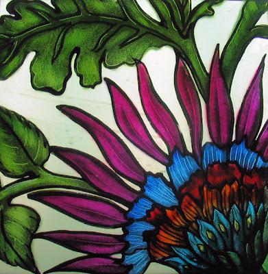 glass+painting Flower فن الرسم على الزجاج