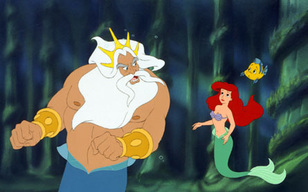 Triton talking to Ariel The Little Mermaid 3 2008 animatedfilmreviews.blogspot.com