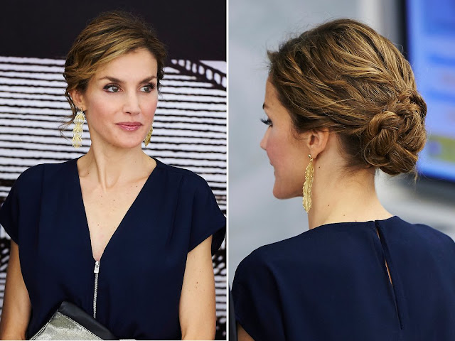 Queen Letizia of Spain attend the opening of 'Teresa de Jesus' exhibition at the National Library