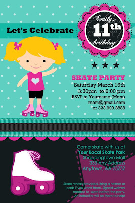 rollerskating birthday party printable